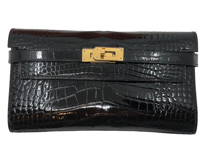 Hermès kelly alligator Clutch bags Exotic leather Black ref.84017