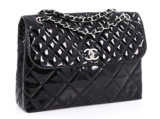 9f944c6b966dab Chanel Business flap maxi bag Handbags Patent leather Black ref.73652