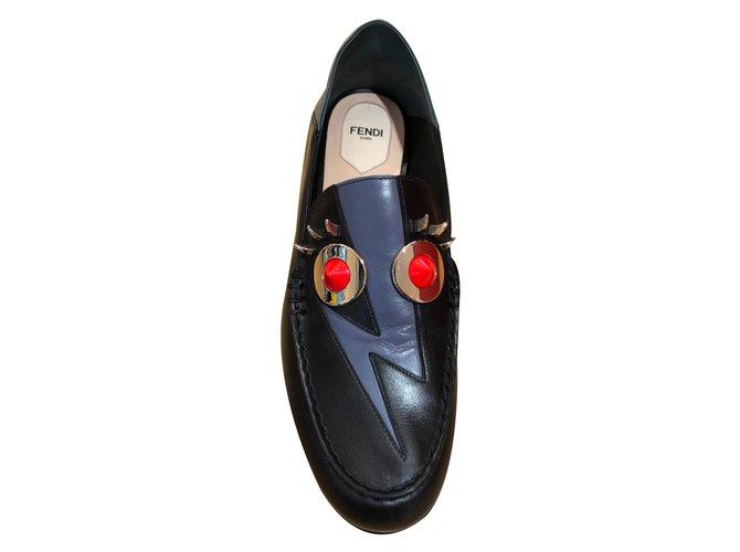 Mocassins Fendi Mocassins Cuir Noir ref.73747 - Joli Closet c9e33997cf7