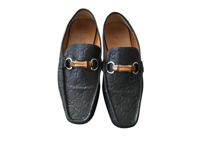 5ff9621c9d25 Gucci Loafers Loafers Slip ons Leather Black ref.73790 - Joli Closet