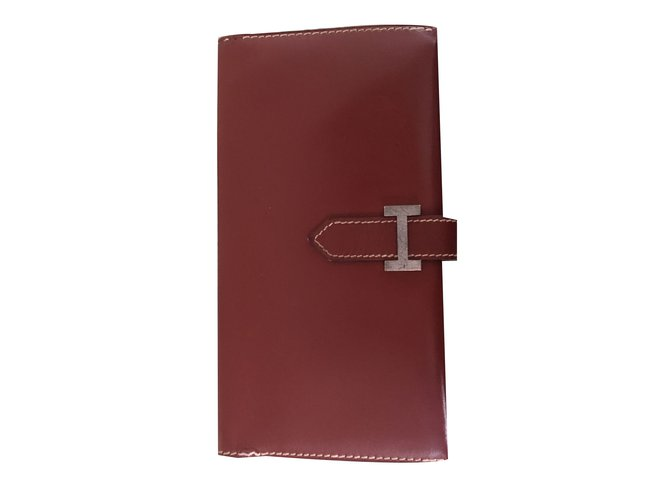 Hermès Béarn Purses, wallets, cases Leather Dark red ref.73882