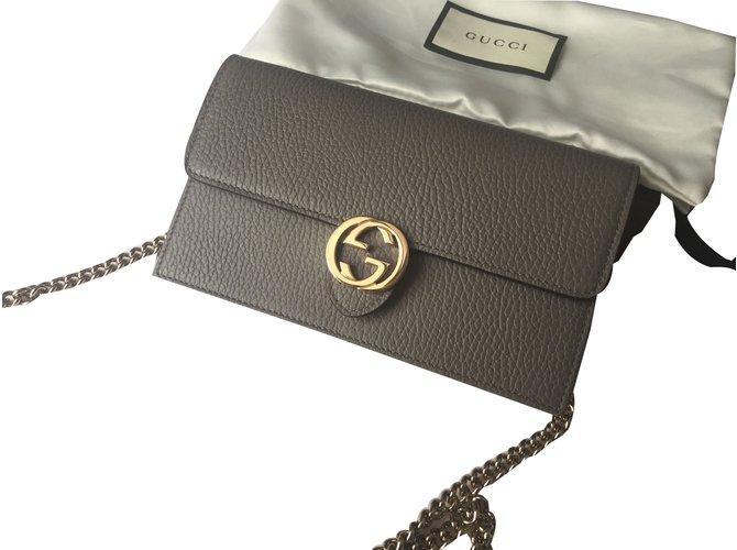 13c3a7381a20 Gucci Wallet Chain Clutch Bags Leather Dark Grey Ref 73918 Joli Closet