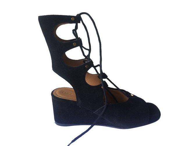 Chloé sandals Sandals Deerskin Black ref.73976
