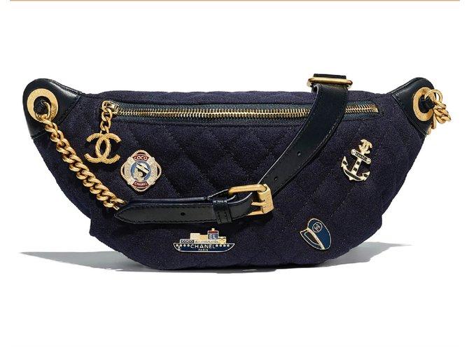 35a5db546a3d Chanel CHANEL Belt 2018 Bag Handbags Wool Navy blue ref.74157 - Joli ...