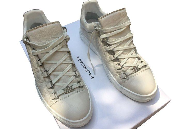 Balenciaga Arena Sneakers Leather Beige