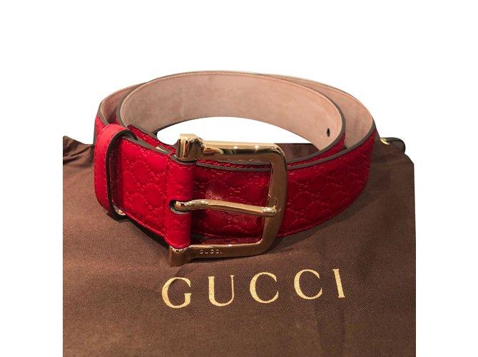 a1ccb3db748 Ceintures Gucci Ceinture Cuir Rouge ref.74314 - Joli Closet