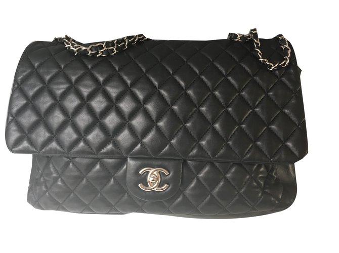 Sacs à main Chanel Maxi Jumbo Cuir Noir ref.74351