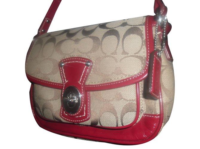 6ba67db0a Coach Handbag Handbags Cloth Red,Beige ref.74392 - Joli Closet