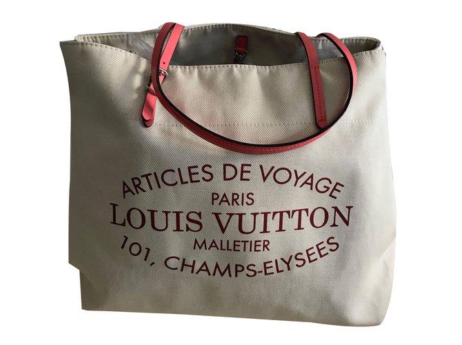 89bf21b6cdfb Louis Vuitton Neverfull Tote Handbags Cotton Beige ref.74469 - Joli ...