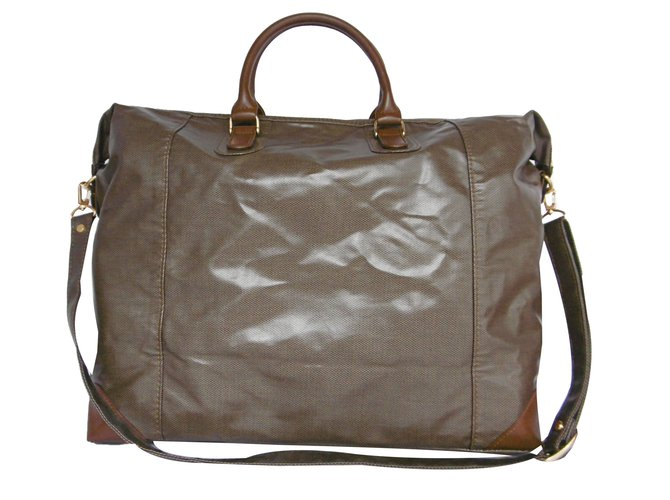 uk cheap sale new york run shoes Pierre Cardin Travel bag Travel bag Patent leather,Cloth Brown ...