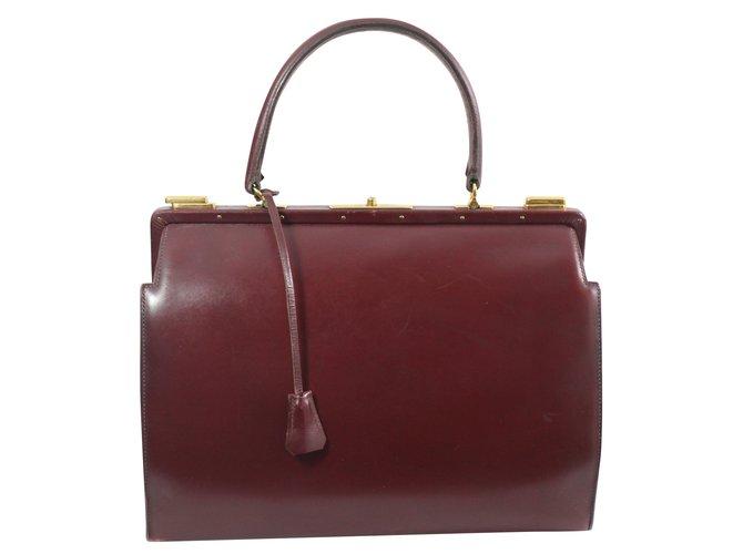 Hermès Doctor Bag Handbags Leather Dark Red Ref 74678