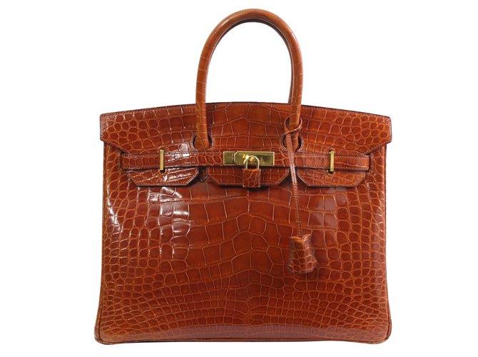 Sacs à main Hermès birkin 35 Cuirs exotiques Marron ref.74691