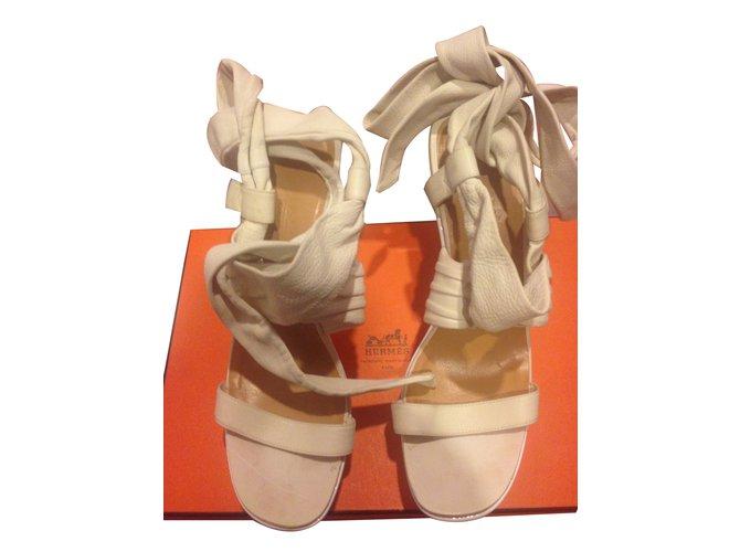 Hermès SANDALS Sandals Leather White ref.102571