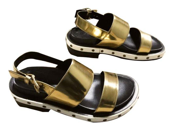 dd8b50b9d Marni sandals Sandals Leather Golden ref.75078 - Joli Closet