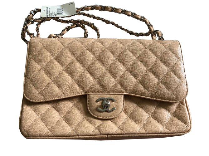 bcfe29c4de449a Chanel Jumbo lined Flap bag Handbags Leather Beige ref.75132 - Joli ...