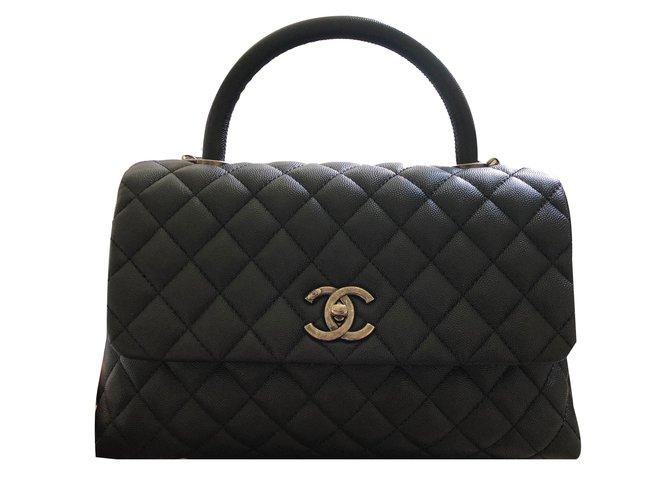 fe9b3fc9a371f0 Chanel Coco Handle in Ruthenium Hardware Handbags Leather Black ref.75133