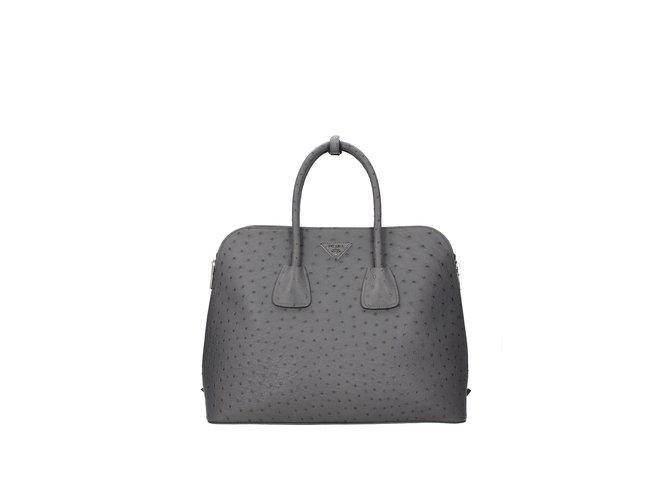 7ef27295a31a Prada Ostrich leather bag Handbags Leather Grey ref.75162 - Joli Closet