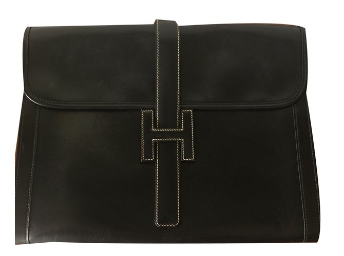 Hermès Jige Clutch bags Leather Black ref.75287
