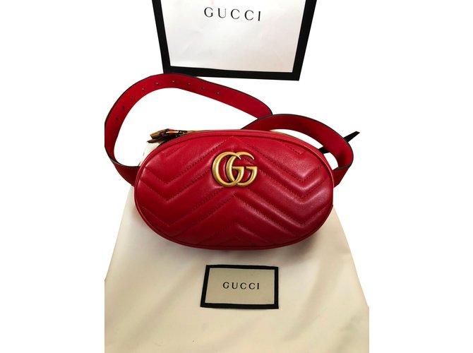 Gucci Clutch-Taschen Clutch Tasche Leder Rot ref.75323