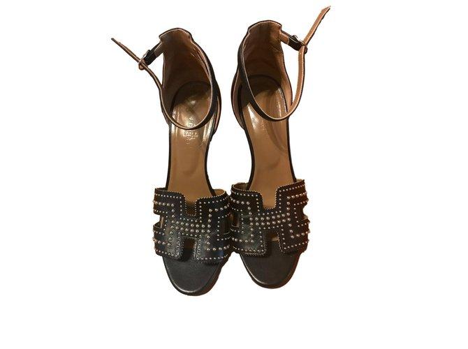 Sandales Hermès Légend Cuir Noir ref.75364