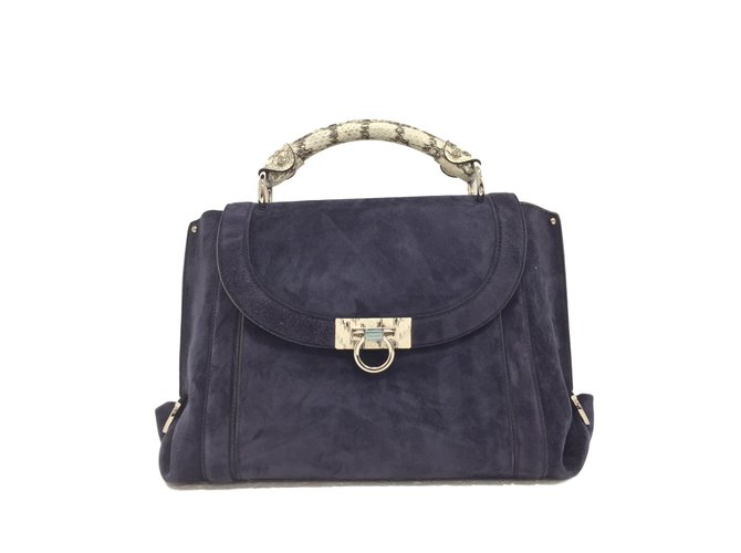 0c886aefc743 Salvatore Ferragamo Soft Sophia bag Handbags Suede Blue ref.75402 ...
