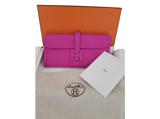 Sacs à main Hermès JIGE Magnolia Pochette Cuir Rose ref.75427