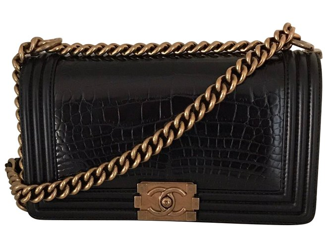 Chanel Boy Handbags Exotic leather Black ref.75452