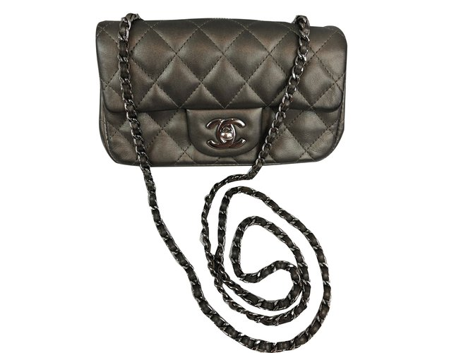 154008efe5b3aa Chanel TIMELESS Handbags Patent leather Dark grey ref.75586 - Joli ...