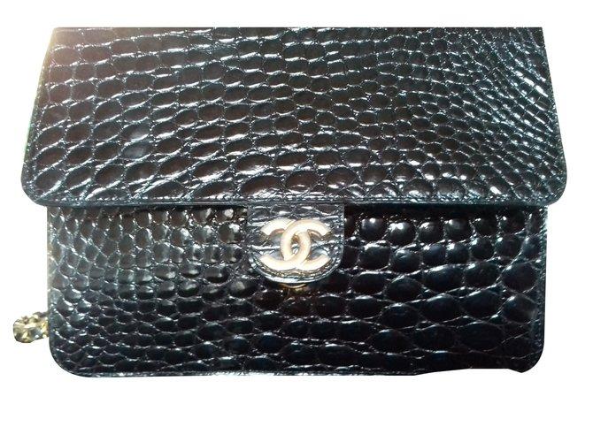 Sacs à main Chanel Timeless Cuirs exotiques Noir ref.75592