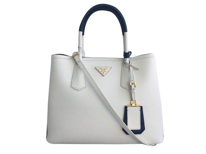 07dac07408c Prada Double bag Handbags Leather White ref.75612 - Joli Closet