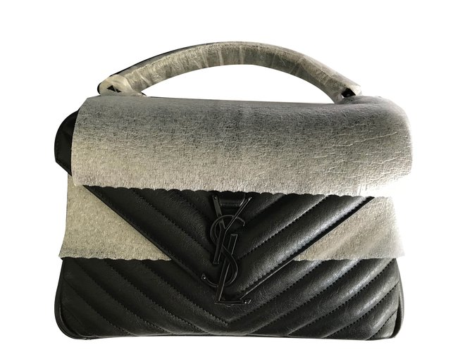 182a0a518a16 Yves Saint Laurent Medium Monogram Colège Handbags Leather Black ref.75782