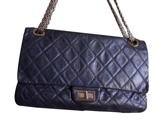 7cc7c22291 Chanel 2.55 Handbags Leather Navy blue ref.75794 - Joli Closet