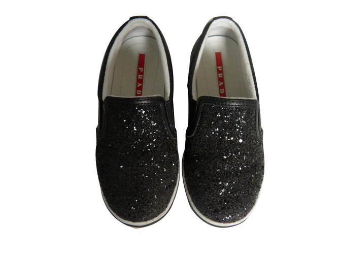 Baskets enfant Prada slip on Cuir Noir ref.75862