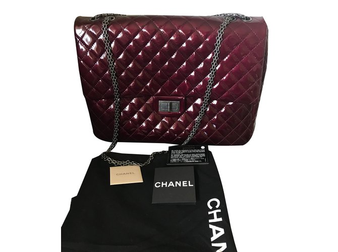 Chanel 2.55 Handbags Patent leather Dark red ref.76020