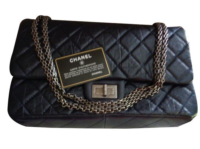 Sacs à main Chanel 2,55 Cuir Bleu Marine ref.76050