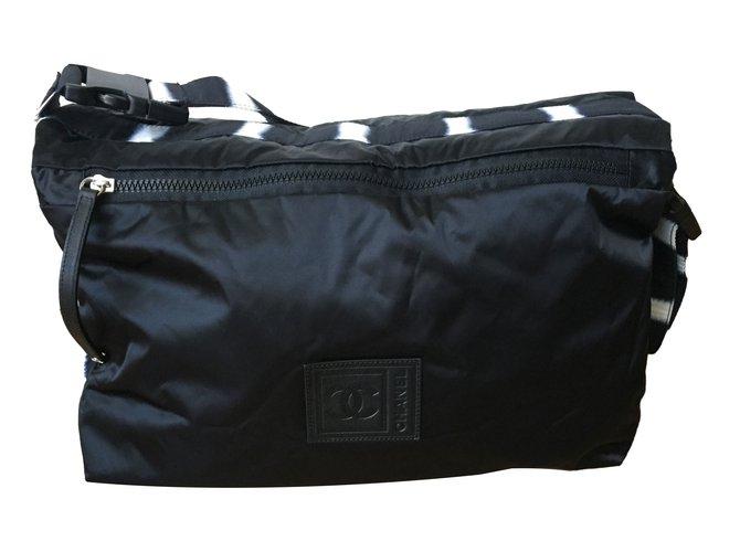 Chanel Bag Handbags Cloth Black,Zebra print ref.76106