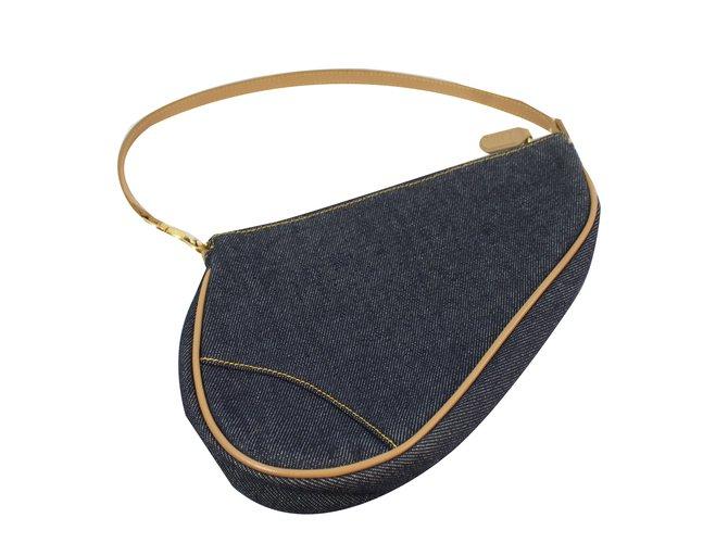 3fdabb445a09 Christian Dior saddle Handbags Cotton Blue ref.76152 - Joli Closet
