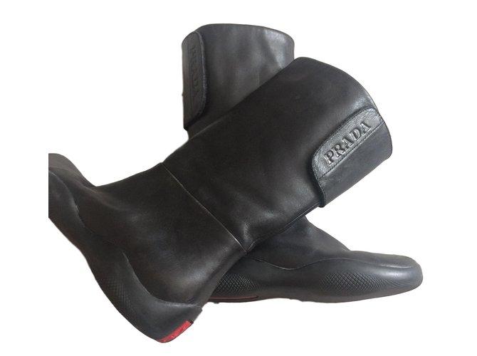 Prada boots Boots Leather Black ref.76234