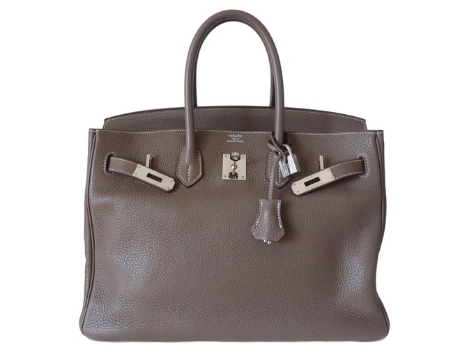 Sacs à main Hermès Birkin 35 ETOUPE Cuir Gris ref.76270