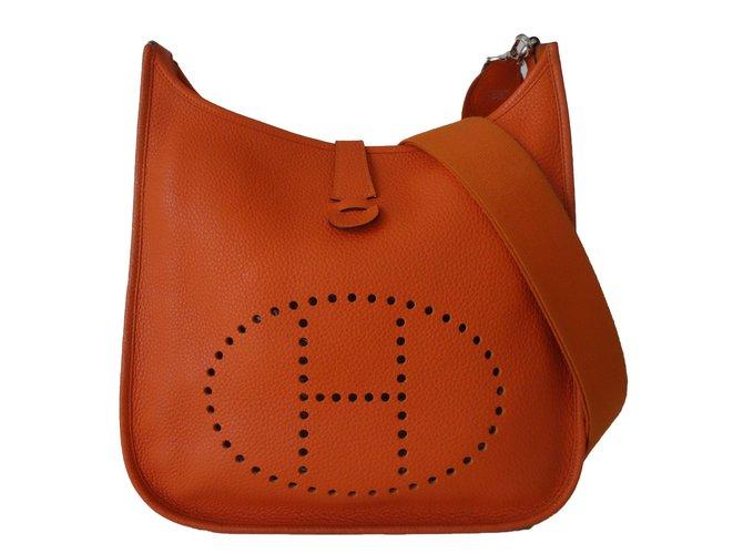 Sacs à main Hermès SAC HERMES EVELYNE III Cuir Orange ref.76495