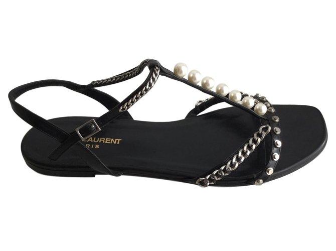 f63c95da93f Saint Laurent sandals Sandals Leather Black ref.76539 - Joli Closet