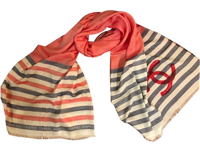 Chanel Scarves Scarves Cashmere Red ref.76573