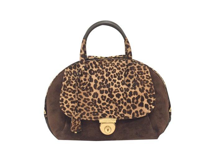 Salvatore Ferragamo Large Fiamma handbag Handbags Pony-style calfskin Brown  ref.76576 154133ccbd