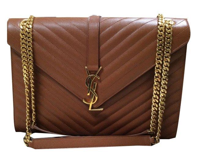f31de938d9 Saint Laurent Large satchel envelope Handbags Leather Light brown ref.76587