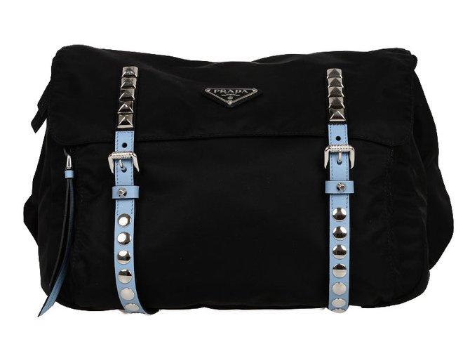 Prada studded bag Handbags nylon Black ref.76589 - Joli Closet 9ec16be74cf