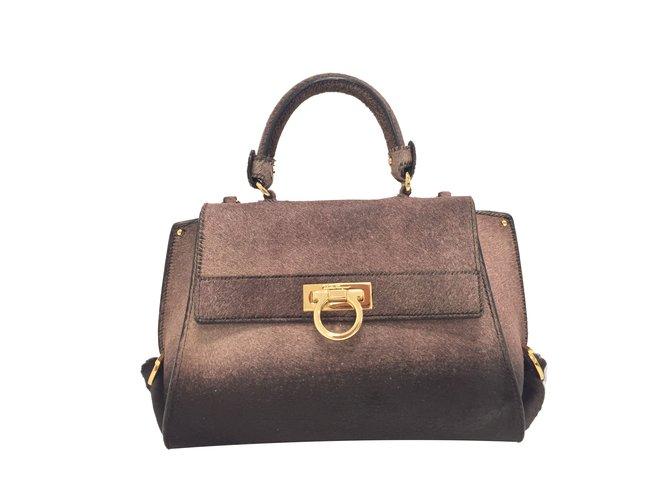 Salvatore Ferragamo Sofia bag Handbags Pony-style calfskin Prune ref.76619 84ce1aba3e3b1