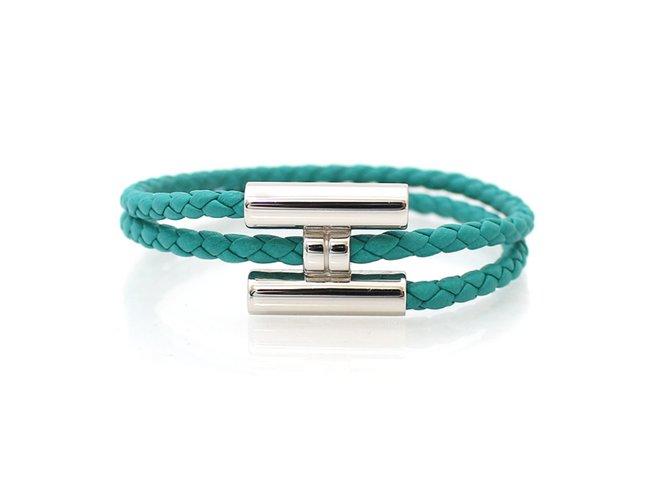 Bracelets Hermès bracelet Torunis Cuir Bleu ref.76643