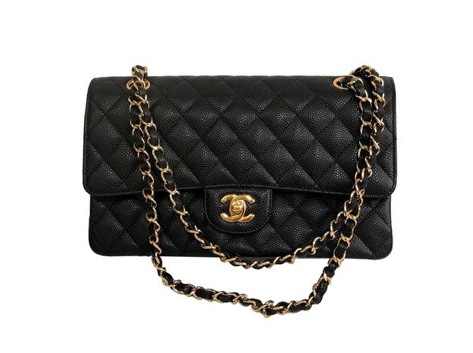9e9f960f3fe Chanel caviar double flap medium bag Handbags Leather Black ref.76707
