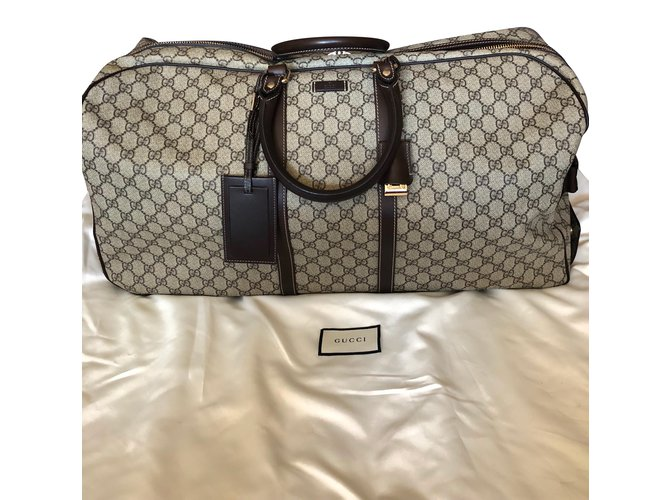 Gucci Travel bag Bags Briefcases Leather,Cloth Beige ref.76853