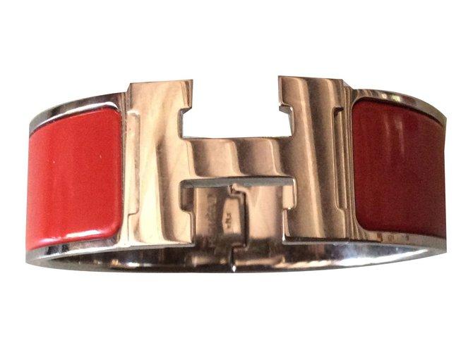Bracelets Hermès Clic Clac H Argent Rouge ref.76871